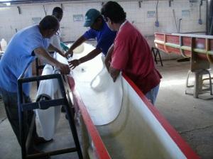 Processo de aplicação da fibra de vidro.